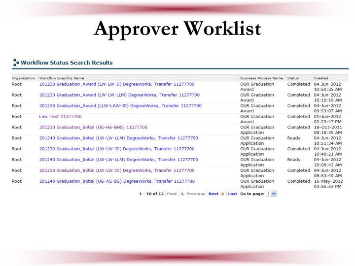 Approver Worklist