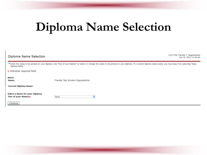 Diploma Name Selection