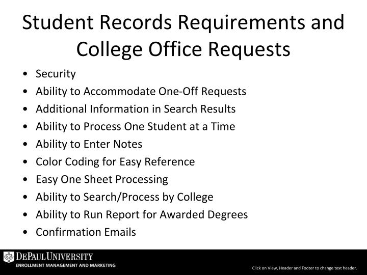 Student Records Requirements and College Office Requests