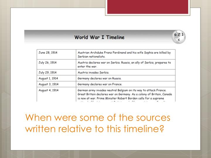 When were some of the sources written relative to this timeline?