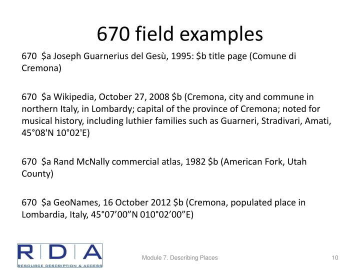 670 field examples