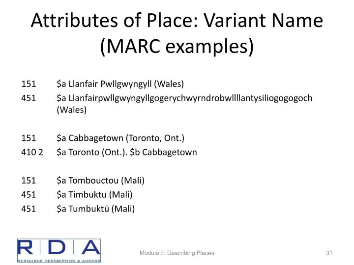 Attributes of Place: Variant Name (MARC examples)