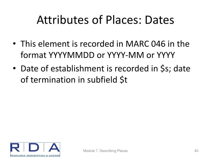 Attributes of Places: Dates