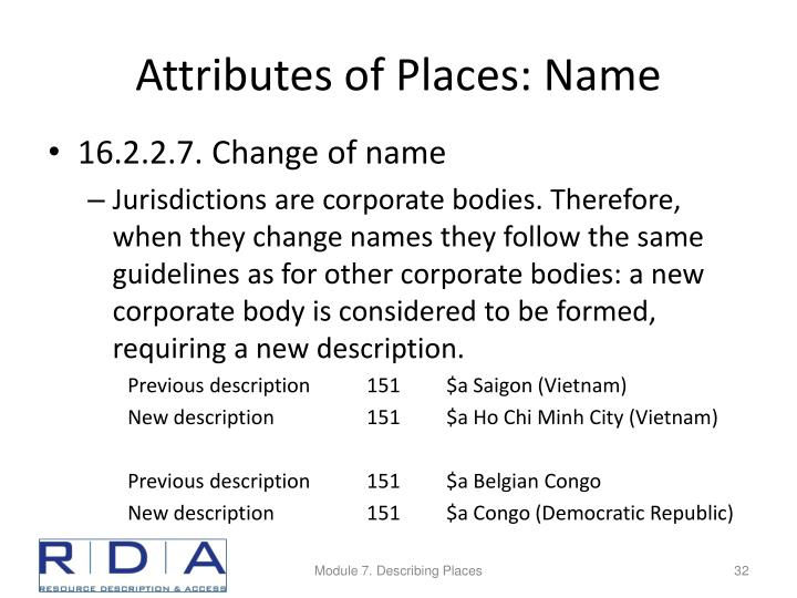 Attributes of Places: Name