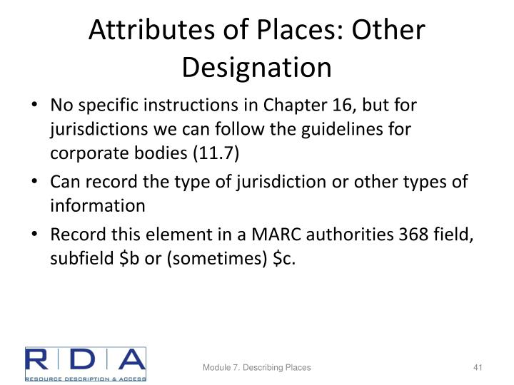 Attributes of Places: Other Designation