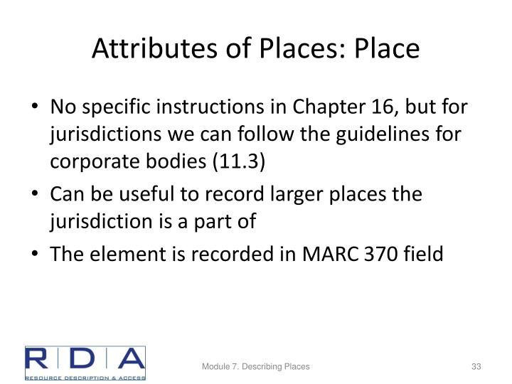 Attributes of Places: Place