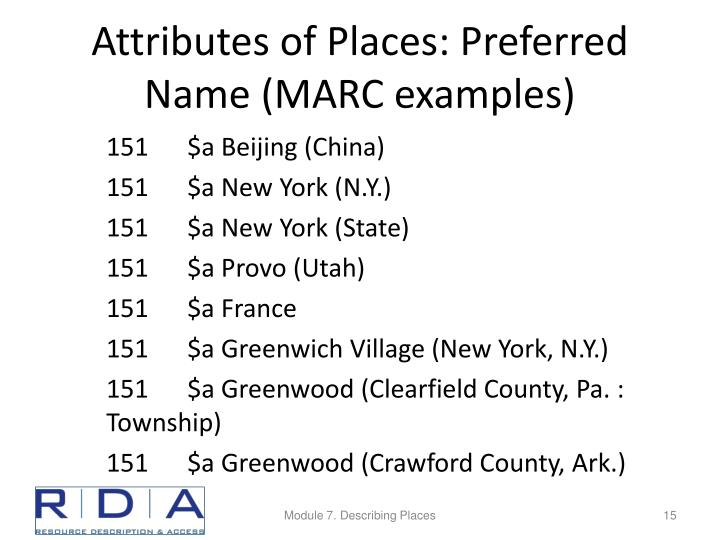 Attributes of Places: Preferred Name (MARC examples)