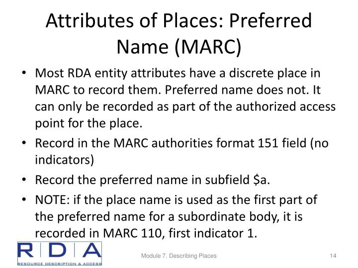 Attributes of Places: Preferred Name (MARC)