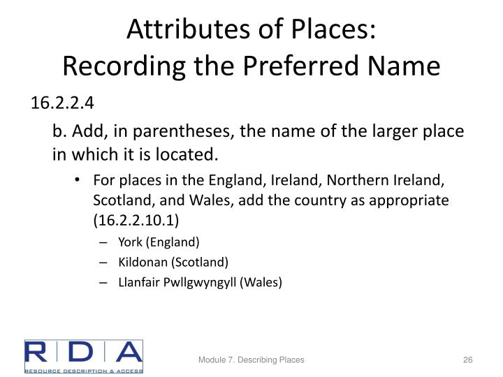 Attributes of Places:
