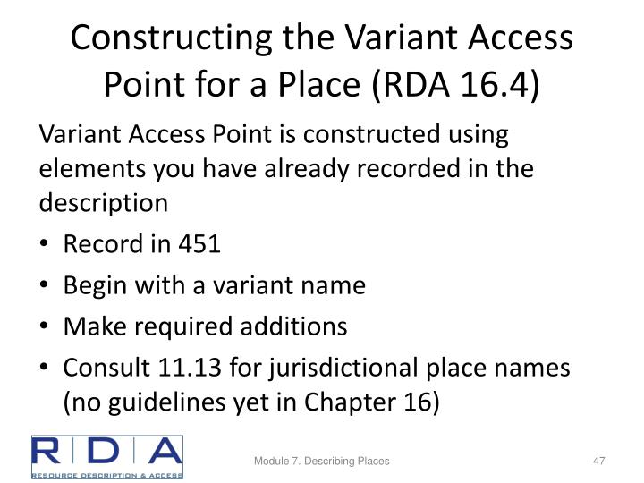 Constructing the Variant Access Point for a Place (RDA 16.4)