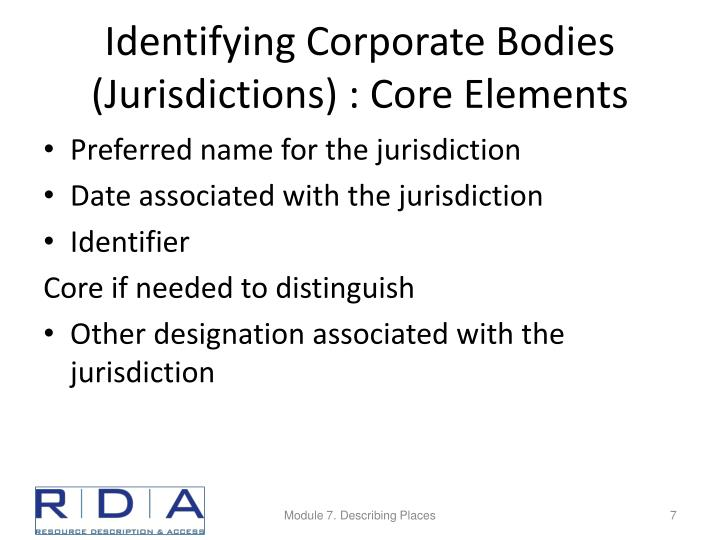 Identifying Corporate Bodies (Jurisdictions) : Core Elements