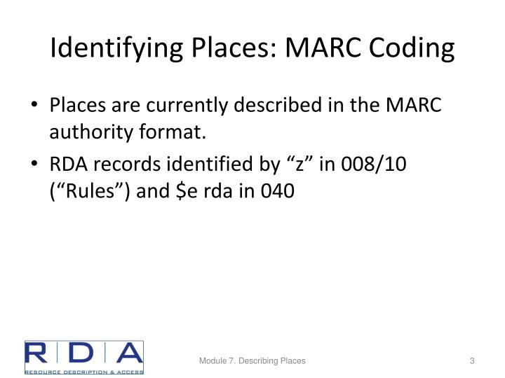 Identifying places marc coding