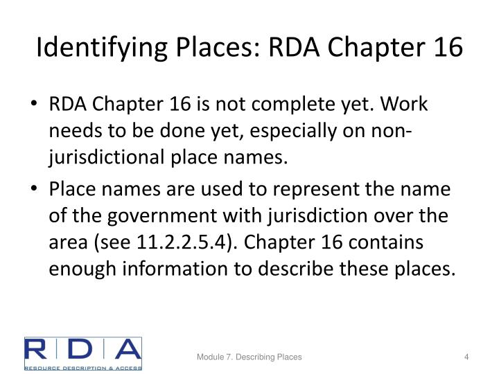 Identifying Places: RDA Chapter 16