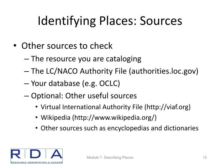 Identifying Places: Sources