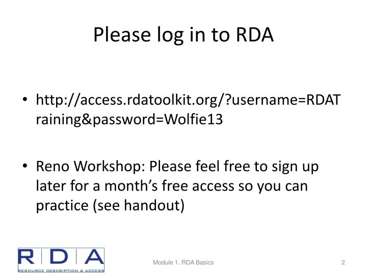 Please log in to rda