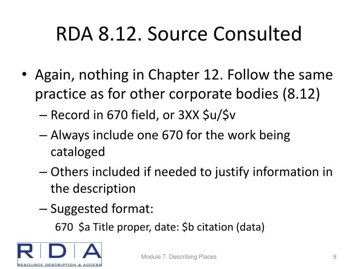 RDA 8.12. Source Consulted