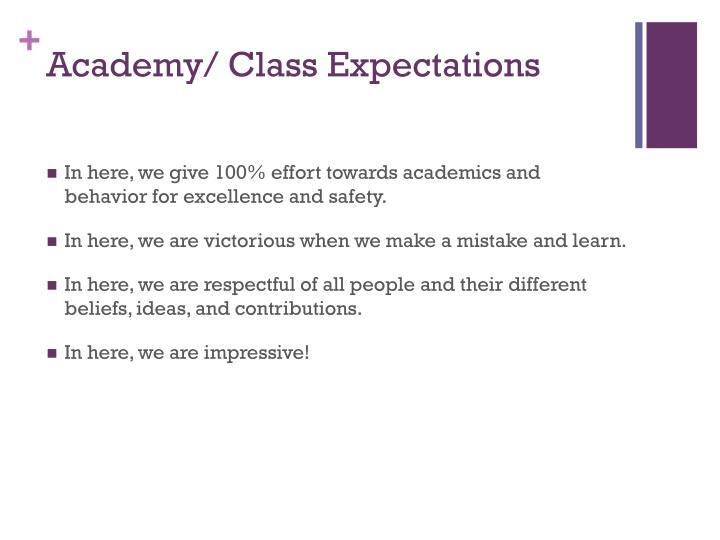 Academy/ Class Expectations