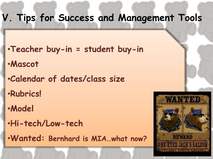 V. Tips for Success and Management Tools