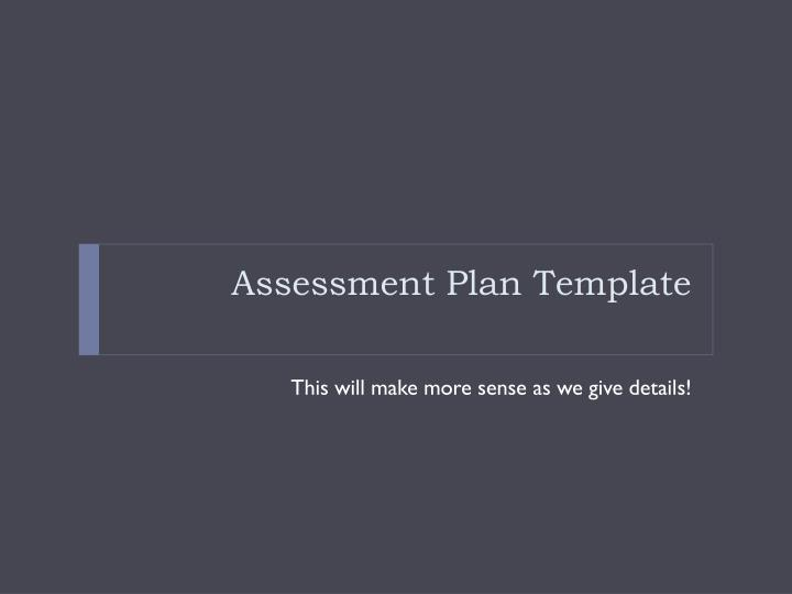 Assessment Plan Template