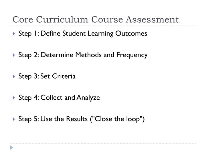 Core Curriculum Course Assessment