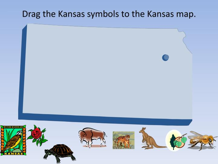 Drag the Kansas symbols to the Kansas map.
