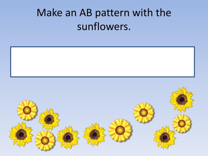 Make an AB pattern with the sunflowers.