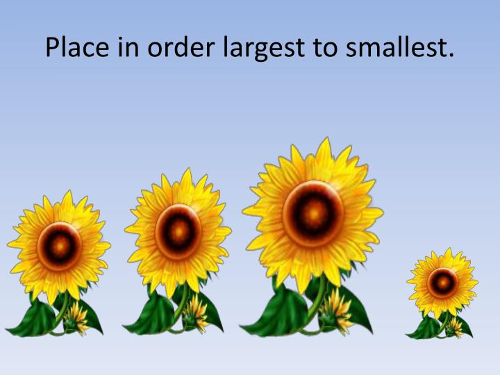 Place in order largest to smallest.