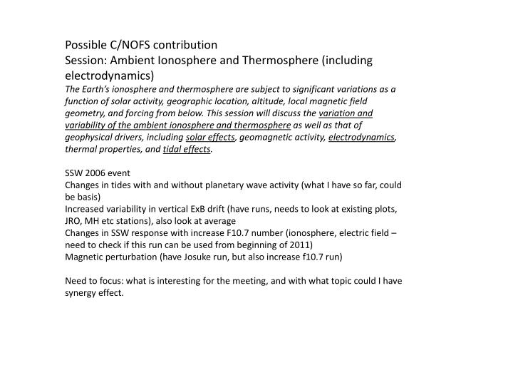 Possible C/NOFS contribution