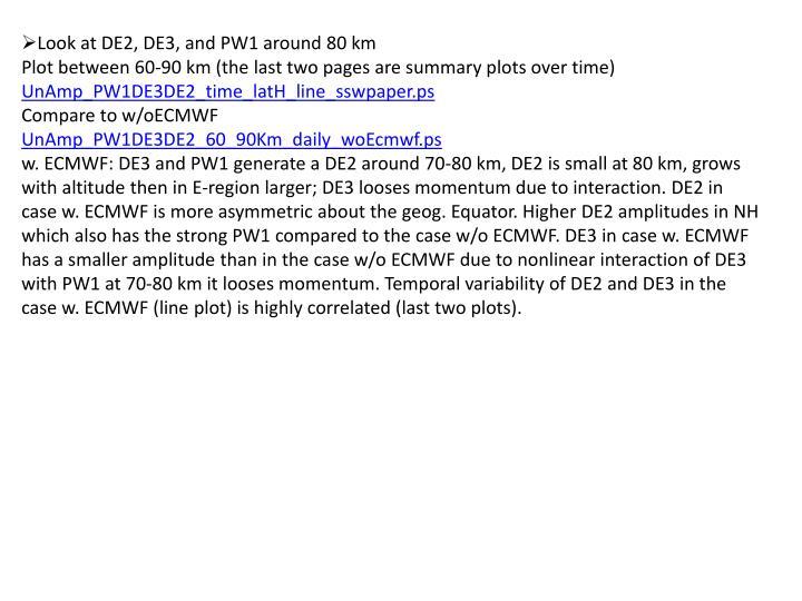 Look at DE2, DE3, and PW1 around 80 km