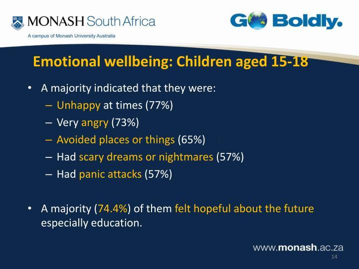 Emotional wellbeing: Children aged 15-18