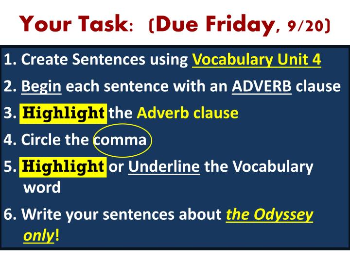 Your Task:  (Due Friday, 9/20)