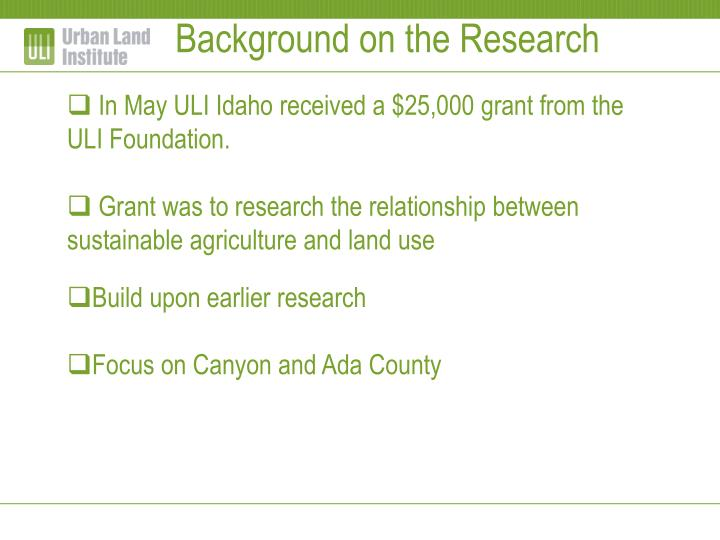 Background on the Research