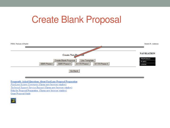 Create Blank Proposal
