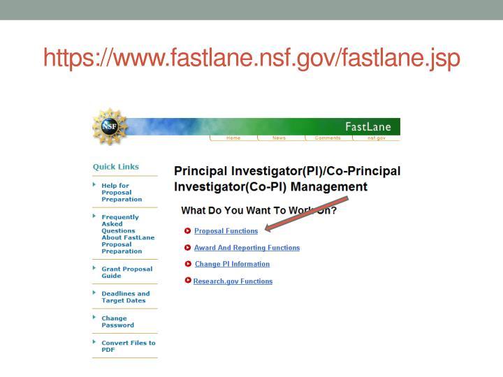 https://www.fastlane.nsf.gov/fastlane.jsp