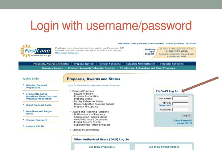Login with username/password