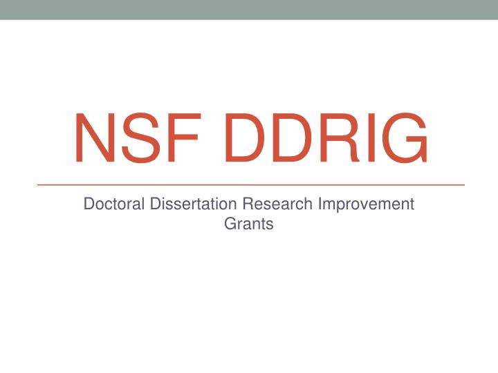 Doctoral Dissertation Improvement Grants