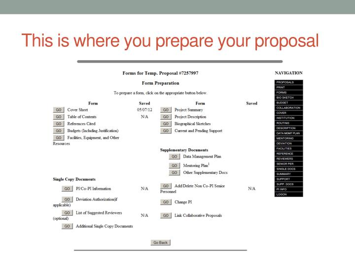 This is where you prepare your proposal