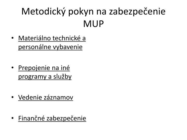 Metodický pokyn na zabezpečenie MUP