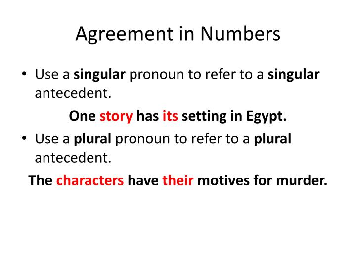 Agreement in Numbers