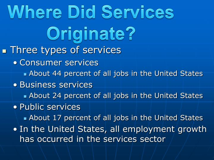 Where Did Services Originate?