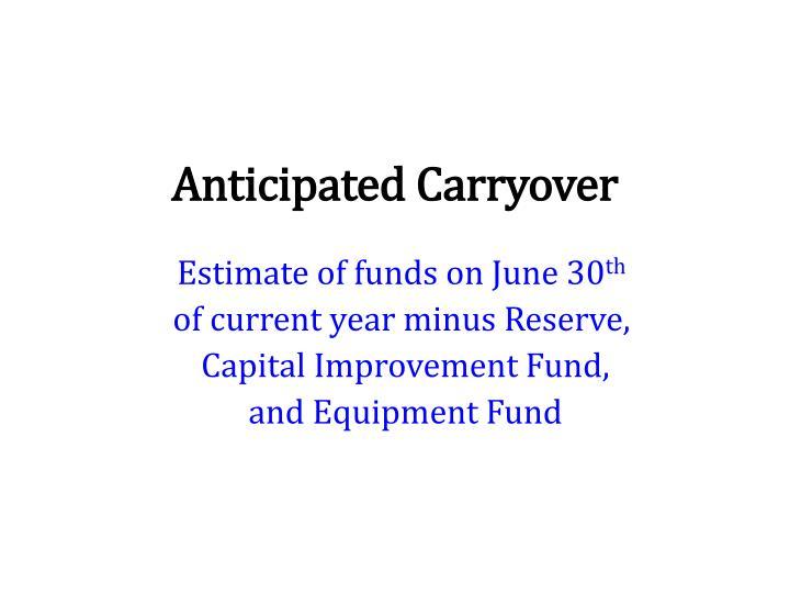 Anticipated Carryover