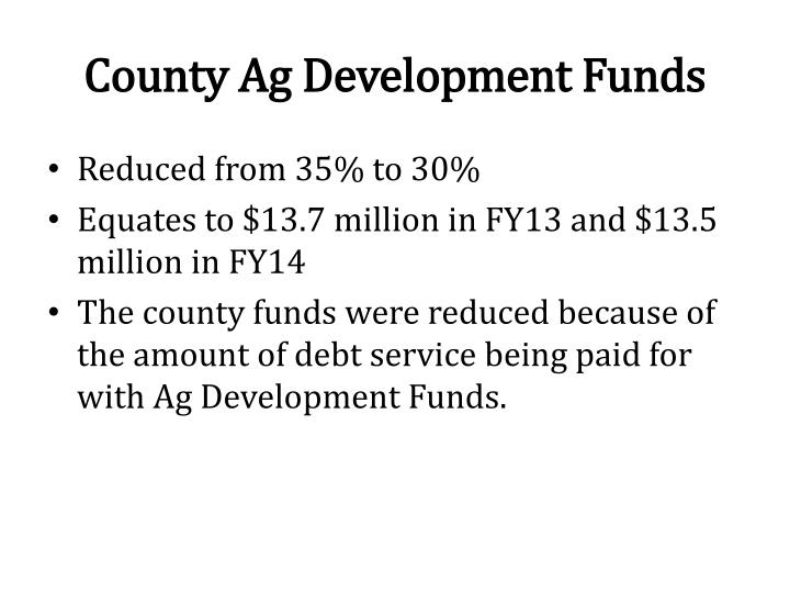 County Ag Development Funds