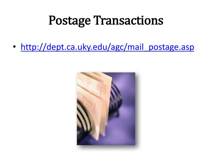 Postage Transactions