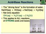 acid base reactions