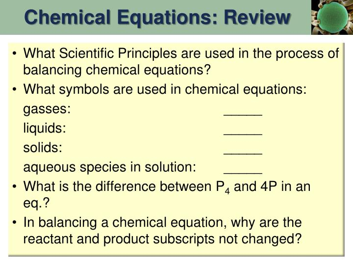 Chemical Equations: Review