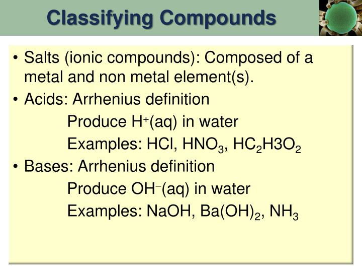 Classifying Compounds