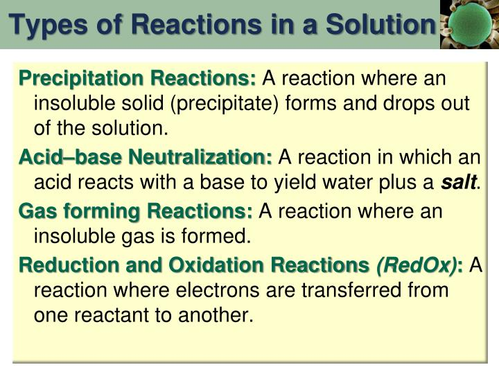 Types of Reactions in a Solution