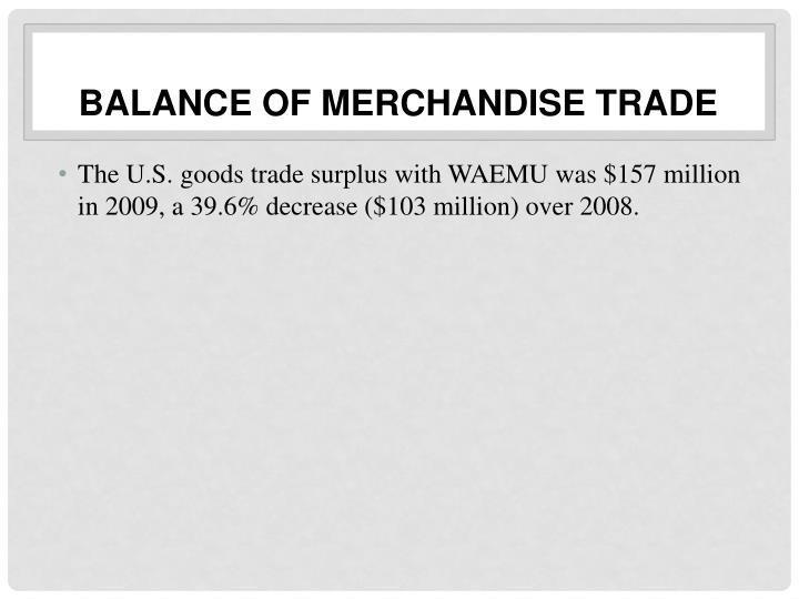 Balance of Merchandise Trade