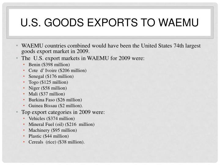 U.S. goods exports to WAEMU