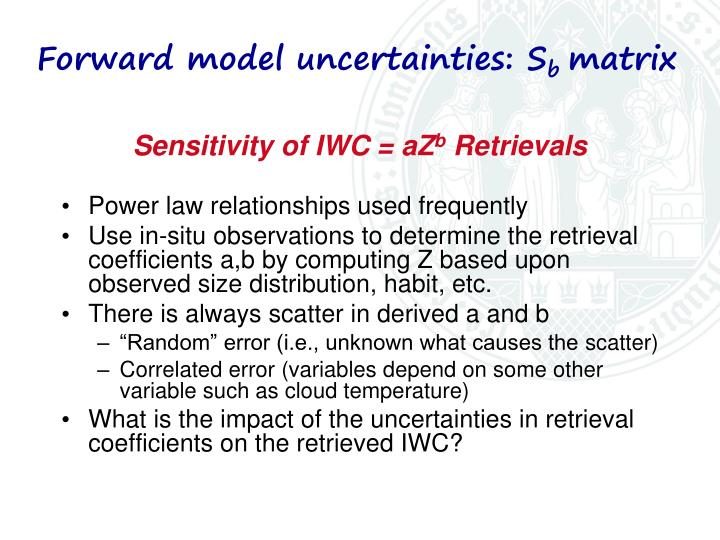 Forward model uncertainties: